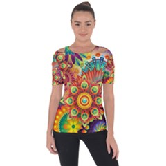 Colorful Abstract Pattern Kaleidoscope Short Sleeve Top