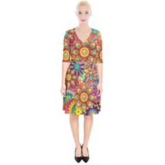 Colorful Abstract Pattern Kaleidoscope Wrap Up Cocktail Dress