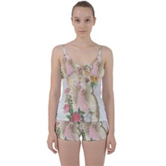 Vintage Floral Illustration Tie Front Two Piece Tankini