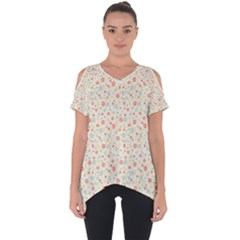 Colorful Pink Floral Cute Pattern Cut Out Side Drop Tee