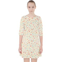 Colorful Pink Floral Cute Pattern Pocket Dress