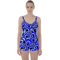 Retro Pattern 1973e Tie Front Two Piece Tankini