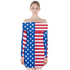 Usa Flag Long Sleeve Off Shoulder Dress