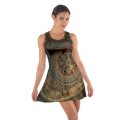 Steampunk, Awesoeme Clock, Rusty Metal Cotton Racerback Dress