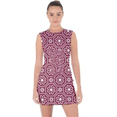 Flower Seamless Pattern Lace Up Front Bodycon Dress