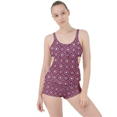 Flower Seamless Pattern Boyleg Tankini Set