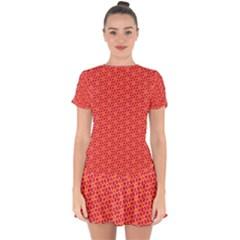 Flower Pattern Drop Hem Mini Chiffon Dress