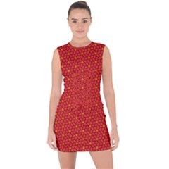 Flower Pattern Lace Up Front Bodycon Dress