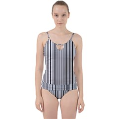 Barcode Cut Out Top Tankini Set