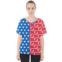 Usa Flag V Neck Dolman Drape Top