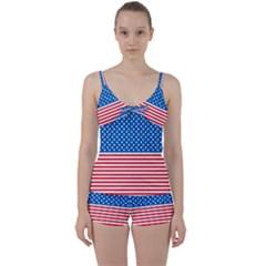 Usa Flag Tie Front Two Piece Tankini