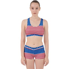 Usa Flag Work It Out Sports Bra Set