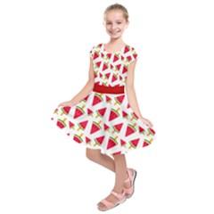 Red Watermelon Seamless Kids  Short Sleeve Dress