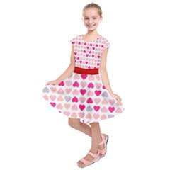 Pink Lover Hearts Seamless Kids  Short Sleeve Dress