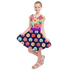 Colorful Flowers In Circles Kids  Short Sleeve Dress