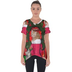 Christmas, Funny Kitten With Gifts Cut Out Side Drop Tee