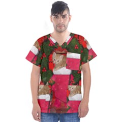 Christmas, Funny Kitten With Gifts Men s V Neck Scrub Top