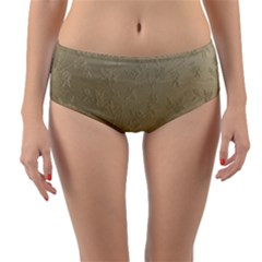 Gold Floral Royal Pattern  Reversible Mid Waist Bikini Bottoms