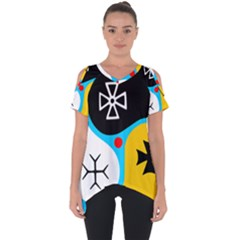 Assianism Symbol Cut Out Side Drop Tee