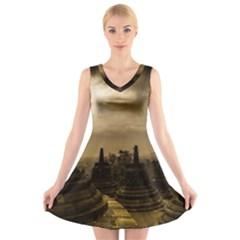 Borobudur Temple Indonesia V Neck Sleeveless Skater Dress