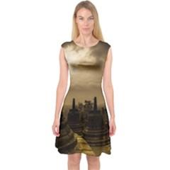 Borobudur Temple Indonesia Capsleeve Midi Dress