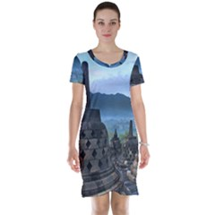 Borobudur Temple  Morning Serenade Short Sleeve Nightdress