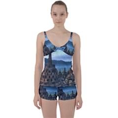 Borobudur Temple  Morning Serenade Tie Front Two Piece Tankini
