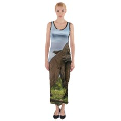 Komodo Dragons Fight Fitted Maxi Dress