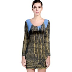 Prambanan Temple Long Sleeve Velvet Bodycon Dress