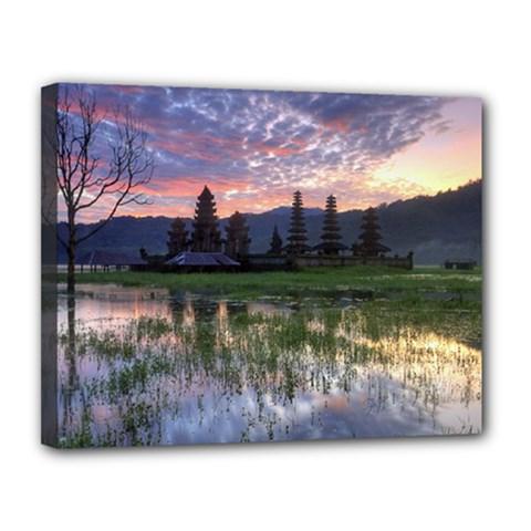 Tamblingan Morning Reflection Tamblingan Lake Bali  Indonesia Canvas 14  X 11
