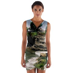 Tanah Lot Bali Indonesia Wrap Front Bodycon Dress