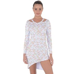 Small Floral Flowers Pattern  Asymmetric Cut Out Shift Dress