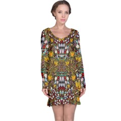 Fantasy Forest And Fantasy Plumeria In Peace Long Sleeve Nightdress