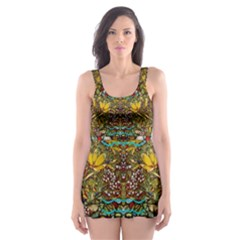 Fantasy Forest And Fantasy Plumeria In Peace Skater Dress Swimsuit