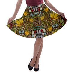 Fantasy Forest And Fantasy Plumeria In Peace A Line Skater Skirt