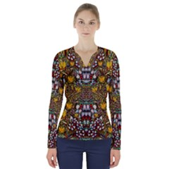 Fantasy Forest And Fantasy Plumeria In Peace V Neck Long Sleeve Top