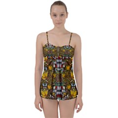 Fantasy Forest And Fantasy Plumeria In Peace Babydoll Tankini Set