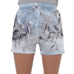 Awesome Running Horses In The Snow Sleepwear Shorts