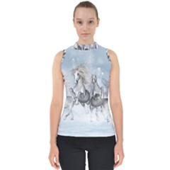 Awesome Running Horses In The Snow Shell Top