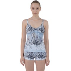 Awesome Running Horses In The Snow Tie Front Two Piece Tankini