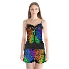 Rainbow Butterfly  Satin Pajamas Set