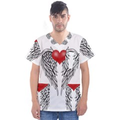 Angel Heart Tattoo Men s V Neck Scrub Top