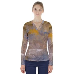 Sunset In The Mountains V Neck Long Sleeve Top
