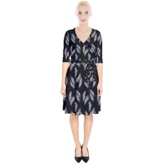Feather Pattern Wrap Up Cocktail Dress