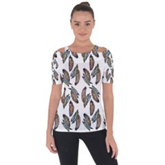 Feather Pattern Short Sleeve Top