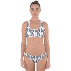 Feather Pattern Cross Back Hipster Bikini Set