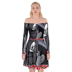 Death   Halloween Off Shoulder Skater Dress