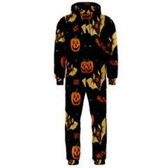 Bat, Pumpkin And Spider Pattern Hooded Jumpsuit (men)