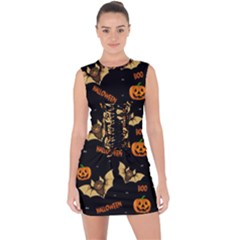 Bat, Pumpkin And Spider Pattern Lace Up Front Bodycon Dress