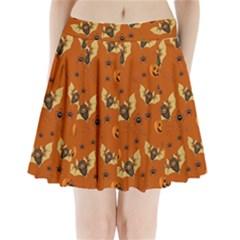 Bat, Pumpkin And Spider Pattern Pleated Mini Skirt